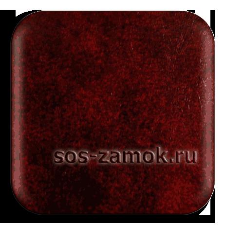 обивка входной двери  темно-красной кожей