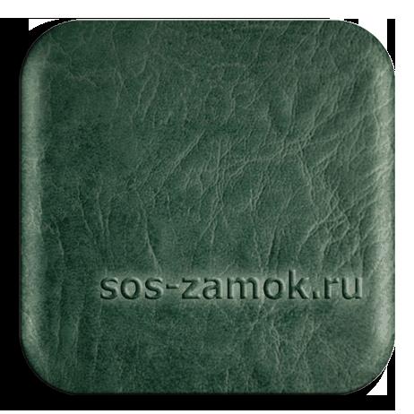 обивка двери бирюзово-зеленой искожей