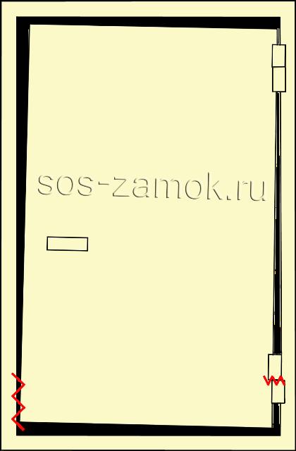 Схема перекоса нижней части двери